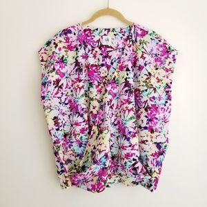 CABI Eden Wrap-front Floral Top